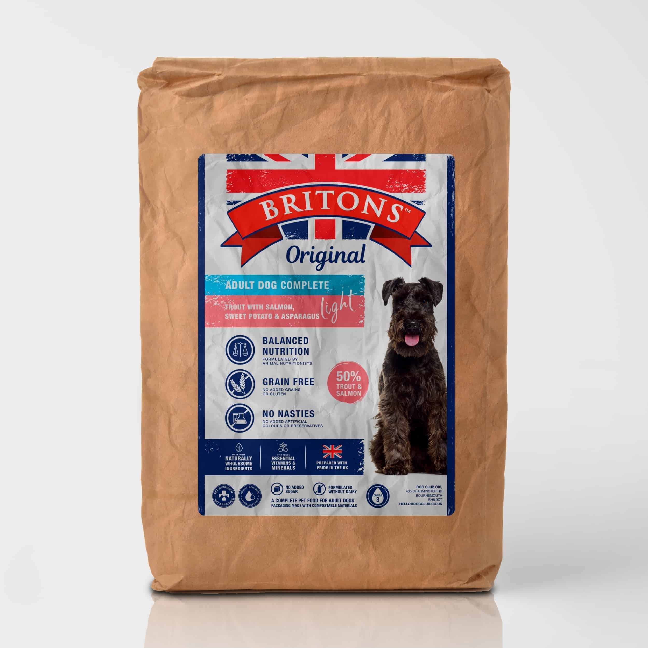 Adult Dog Light Recipe, grain free, complete dry food. Freshly prepared Trout with Salmon, Sweet Potato & Asparagus. Britons Original