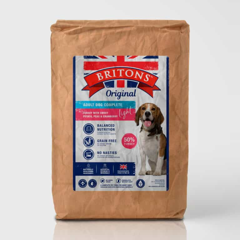 Adult Dog Light Recipe, grain free, complete dry food. Freshly prepared Turkey with Sweet Potato, Peas & Cranberry. Britons Original.