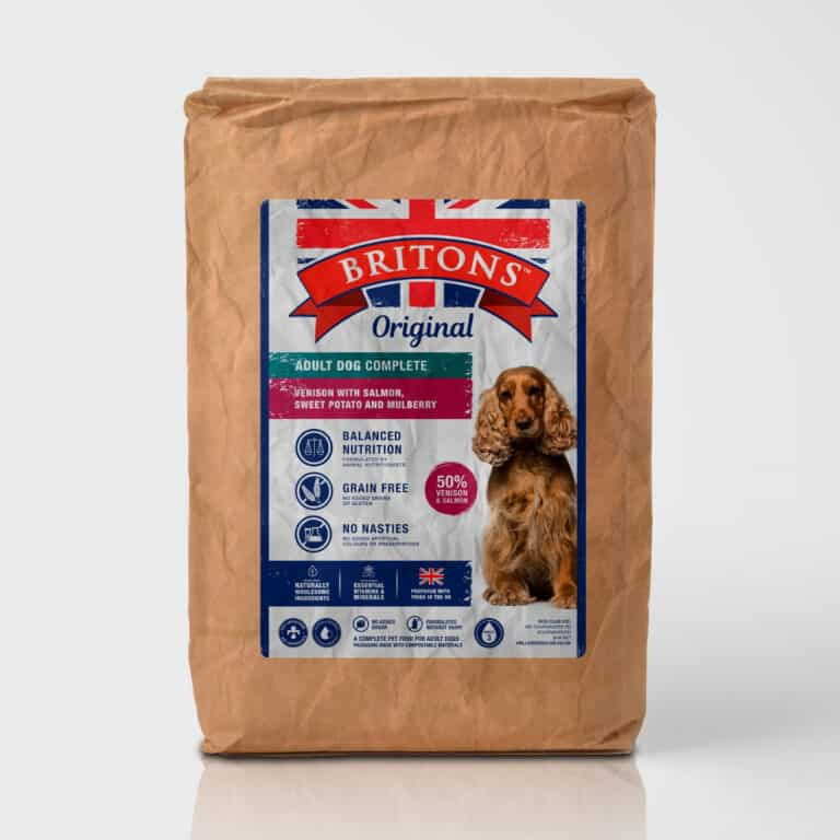 Adult dog grain free complete dry food. Freshly prepared venison with salmon sweet potato and mulberry. Britons Original. Vet approved. Naturally hypoallergenic.