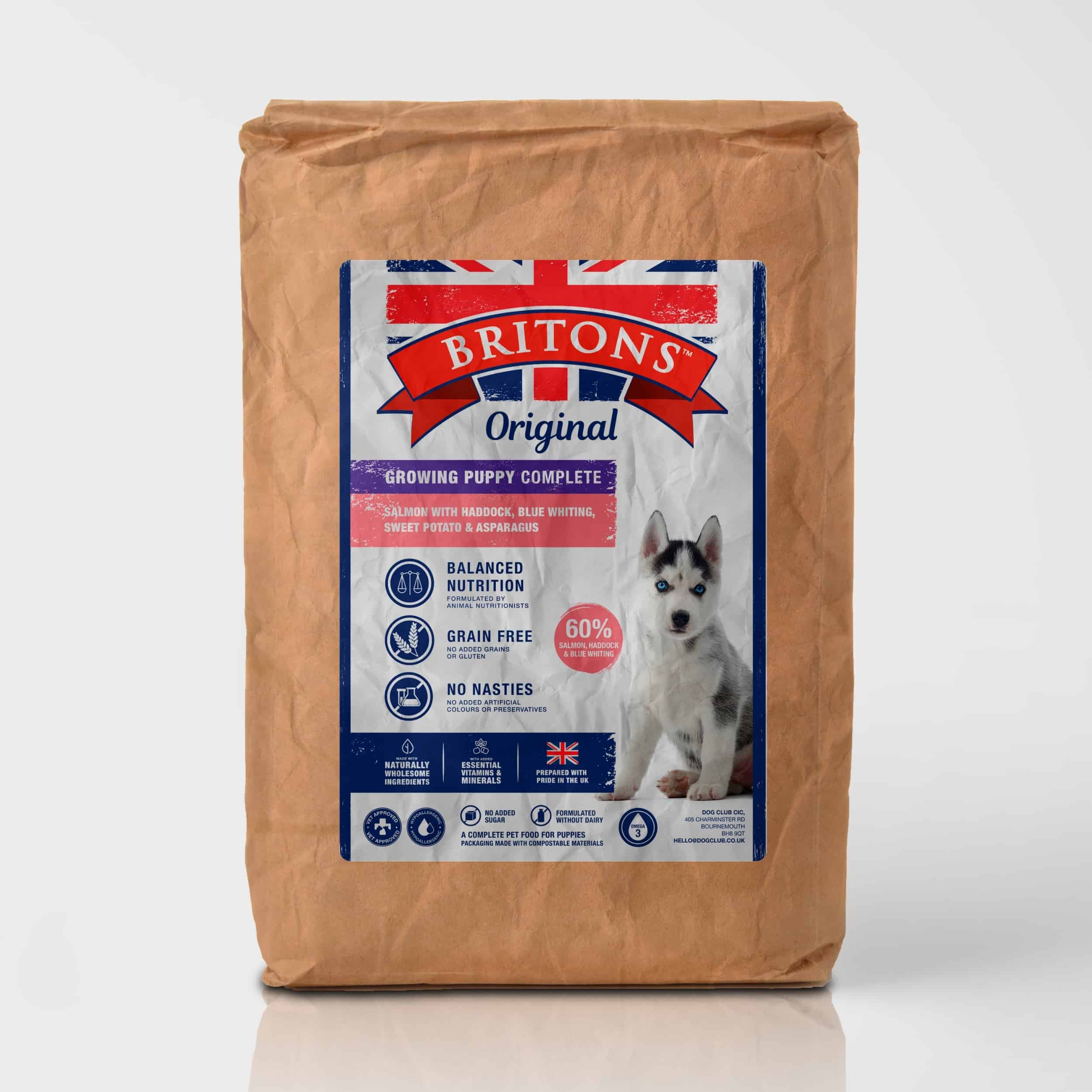 Growing Puppy, grain free, complete dry food. Freshly prepared Salmon with Haddock, Blue Whiting, Sweet Potato & Asparagus. Britons Original.