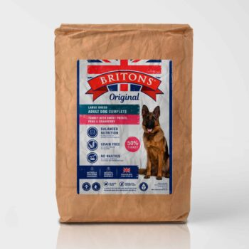 Large Breed Adult Dog, grain free, complete dry food. Freshly prepared Turkey with Sweet Potato, Peas & Cranberry. Britons Original