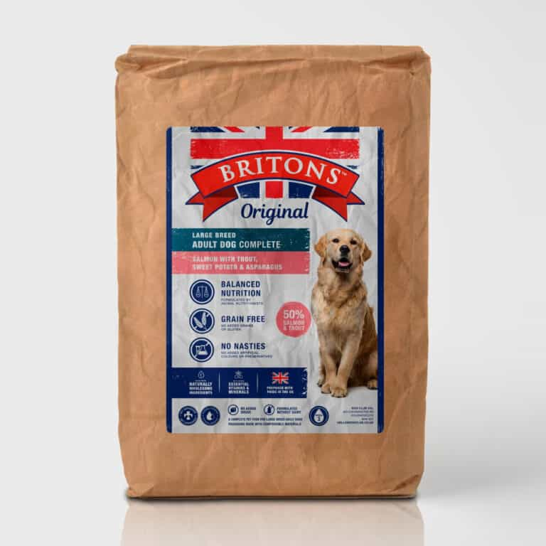 Large Breed Adult dog, grain free, complete dry food. Freshly prepared Salmon with Trout, Sweet Potato & Asparagus. Britons Original.