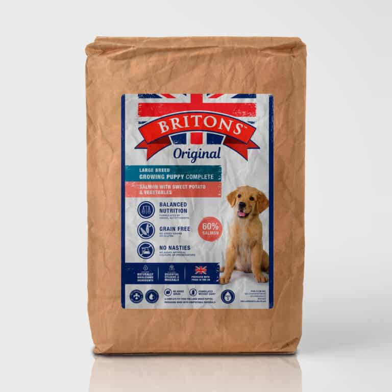 Large Breed Growing Puppy, grain free, complete dry food. Freshly prepared Salmon with Trout, Sweet Potato & Asparagus. Britons Original