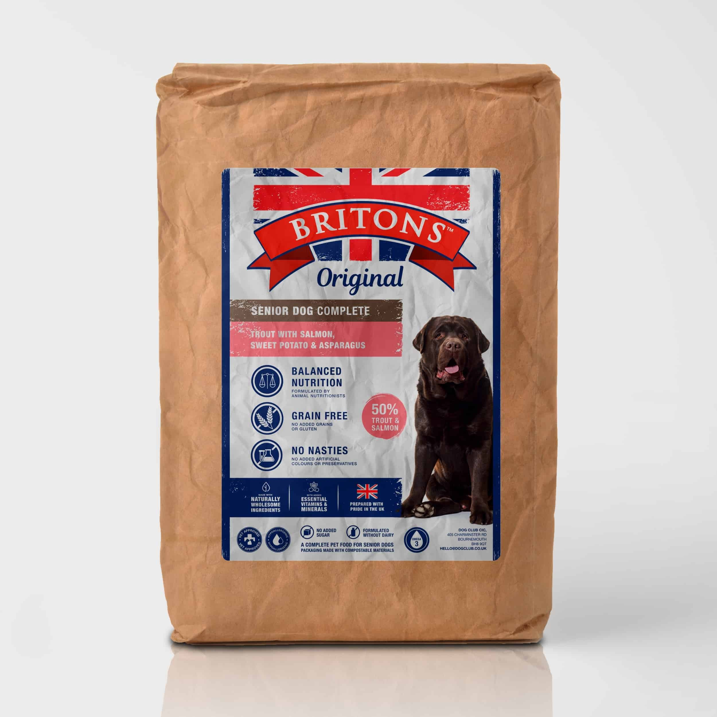 Senior dog, grain free, complete dry food. Freshly prepared Trout with Salmon, Sweet Potato & Asparagus. Britons Original.