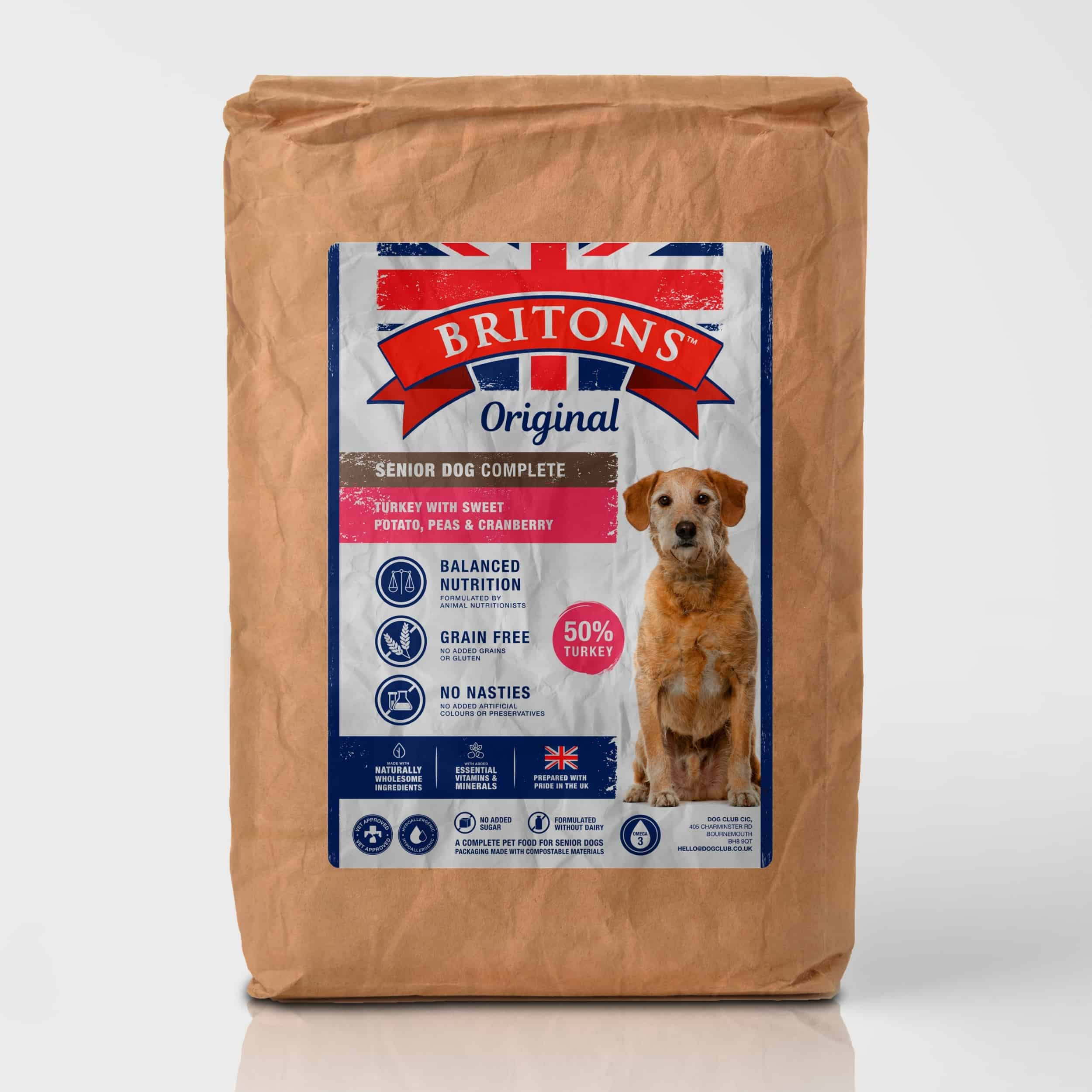 Senior dog, grain free, complete dry food. Freshly prepared Turkey with Sweet Potato, Peas & Cranberry. Britons Original