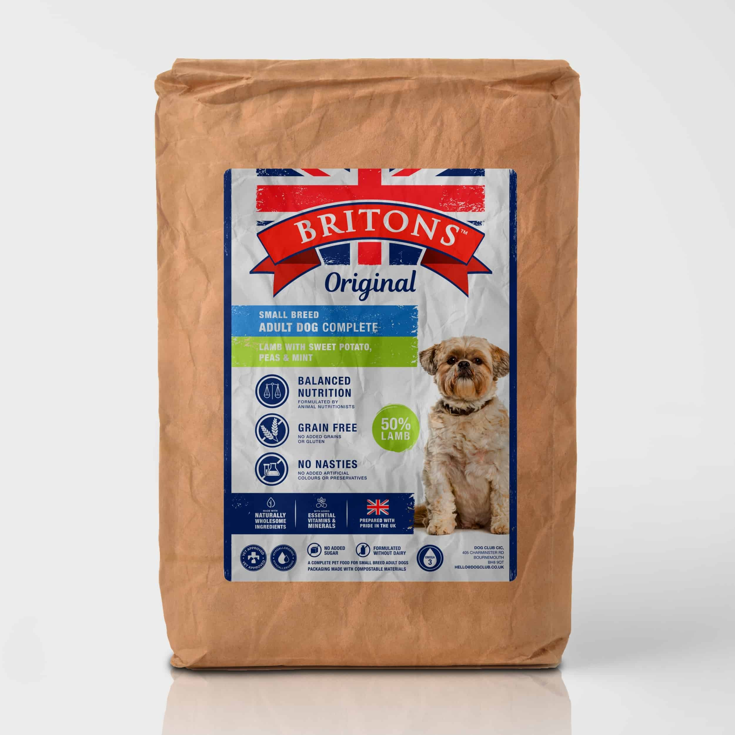 Small Breed Adult Dog, Grain Free, Complete Dry Food. Freshly Prepared Lamb with Sweet Potato, Peas & Mint. Britons Original.