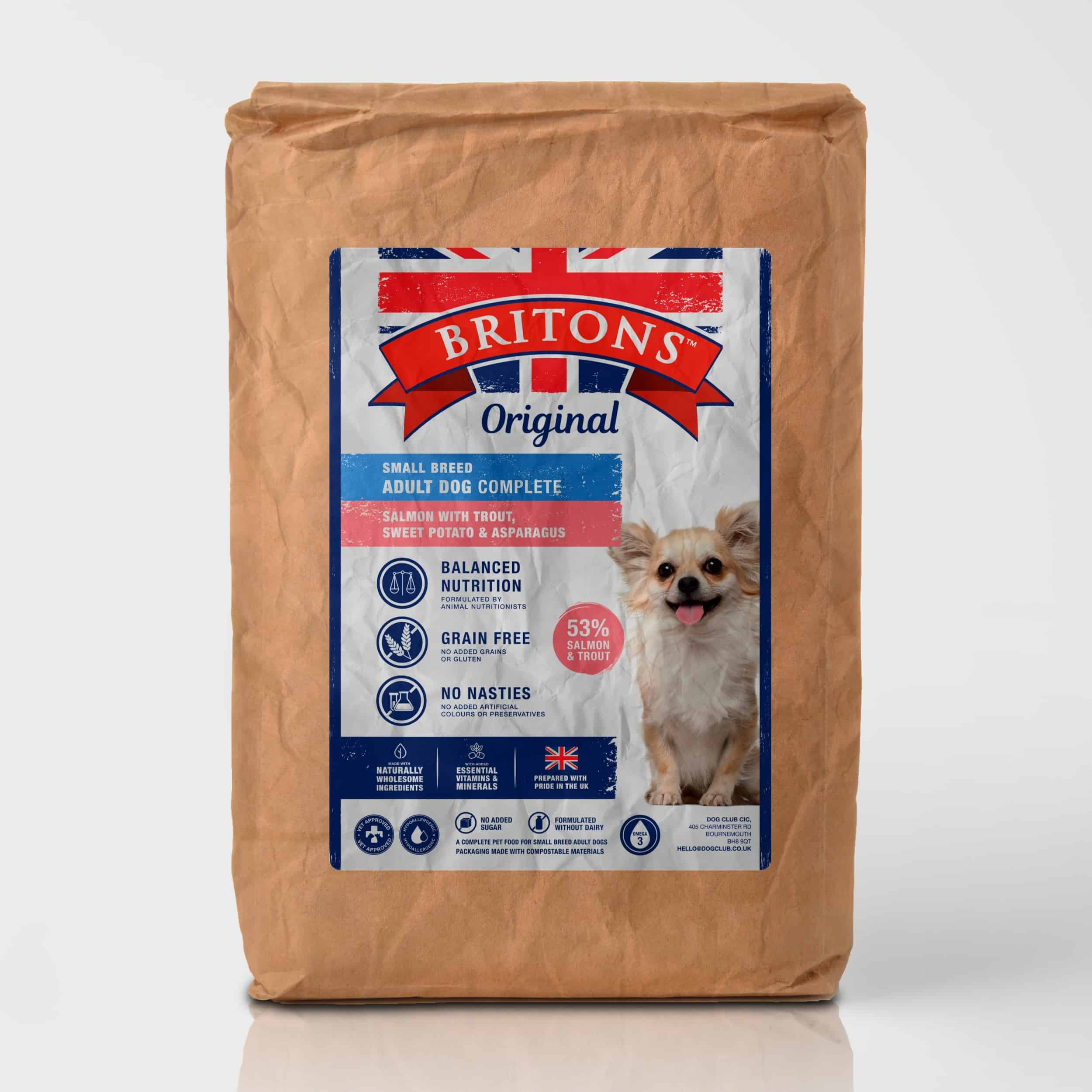 Small Breed Adult dog, grain free, complete dry food. Freshly prepared Salmon with Trout, Sweet Potato & Asparagus. Britons Original. Vet approved.