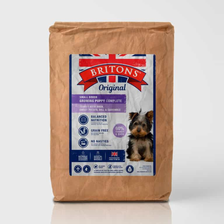 Small Breed Growing Puppy, grain free, complete dry food. Freshly prepared Turkey with Duck, Sweet Potato, Dill & Camomile. Britons Original. Vet approved. Naturally hypoallergenic.