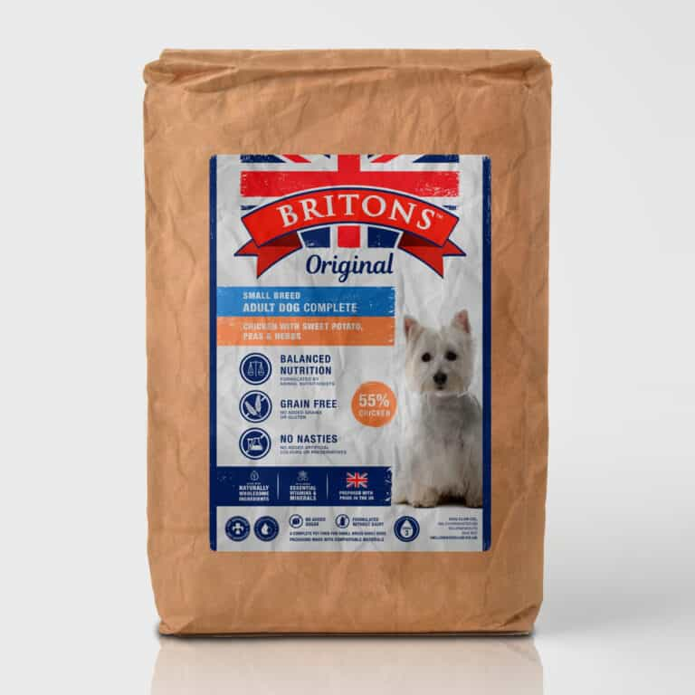Small breed dog, grain free, complete dry food. Freshly prepared Chicken with Sweet Potato, Peas & Herbs. Britons Original